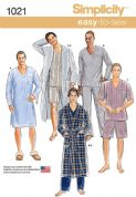 1021 Simplicity Pattern: Men's Classic Pajamas and Robe